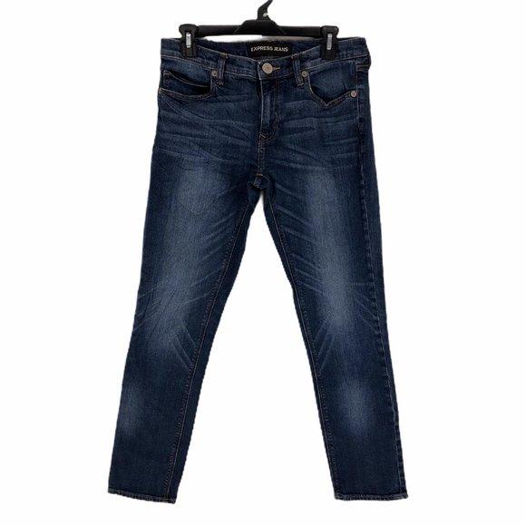 Express Womens Blue Girlfriend Skinny Jeans Size 4
